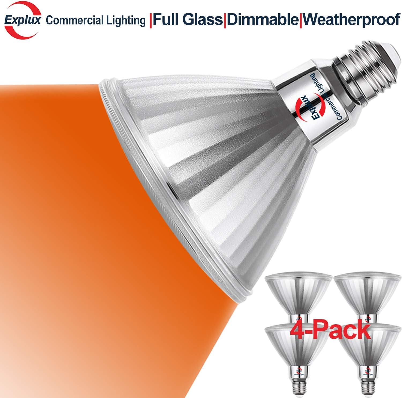 Explux Blue Color PAR38 LED Flood Light Bulbs 120W Equivalent Outdoor Weatherproof 2-Pack Dimmable