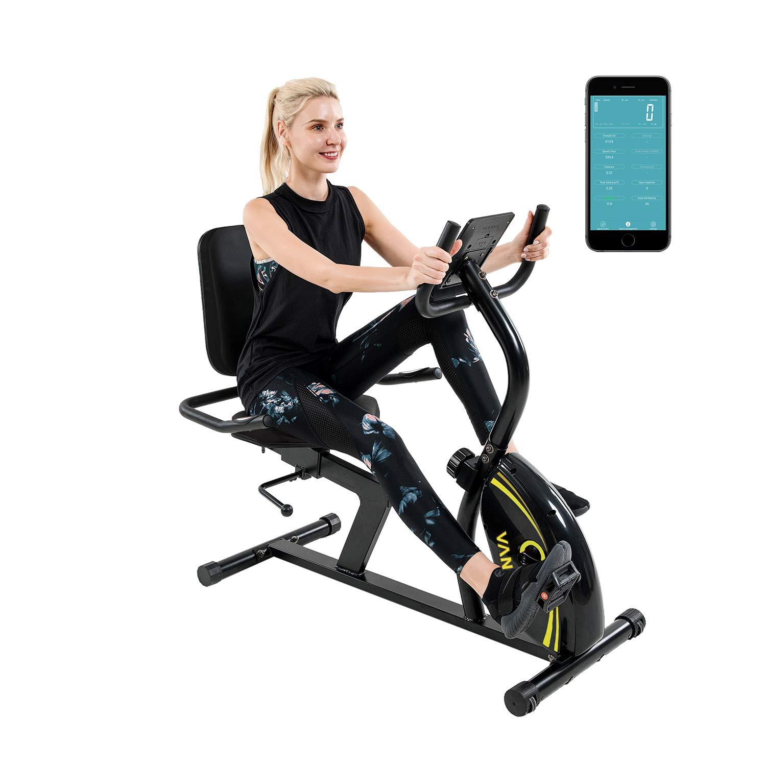 Vanswe Recumbent Exercise Bike 16 Levels Magnetic Tension Resistance 380 lbs. Stationary Bike with Adjustable Seat, Transport Wheels and Bluetooth Connectivity for Workout and Physical Therapy by Vanswe