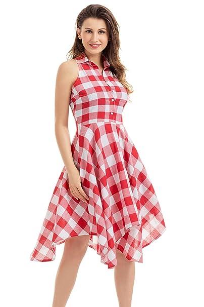 973a329f454 Women s Plaid Dress Button Up Split Classic Checks Sleeveless ...
