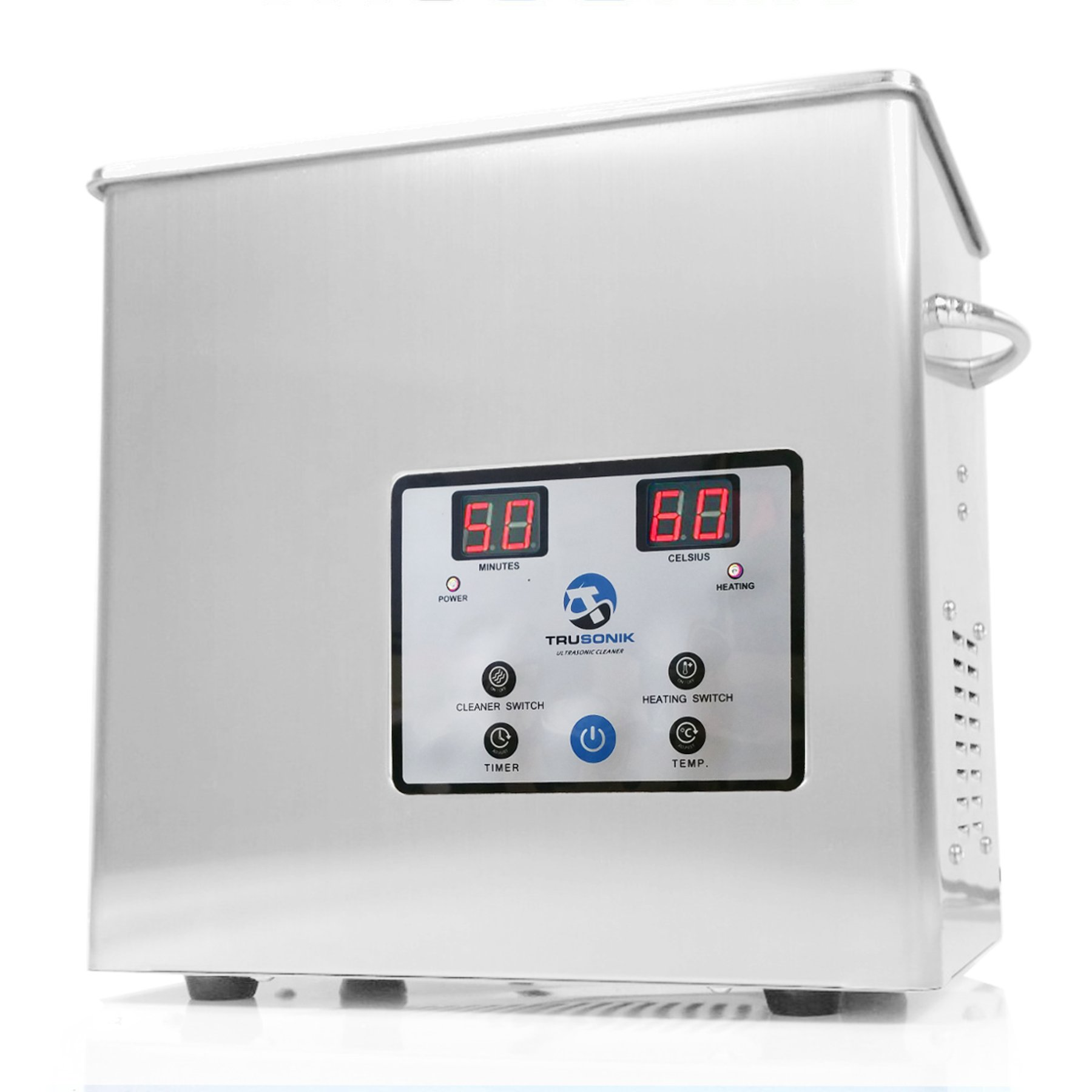 TruSonik 2.5L Digital Ultrasonic Cleaner With Heater   Industrial Stainless Steel Body, Tub, & Basket   Cleans Jewellery, Dental & Tattoo Equipment, Guns & Gun Parts, Car Parts & Carbs, & More by TruSonik