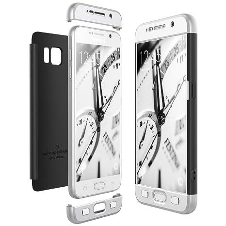 CE-Link Funda Samsung Galaxy S6, Carcasa Fundas para Samsung Galaxy S6, 3 en 1 Desmontable Ultra-Delgado Anti-Arañazos Case Protectora - Plata + Negro