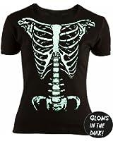 Up Close T-Shirt Girlie Squelette - Brille dans le noir