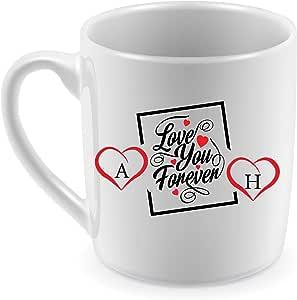 كوب للقهوة والشاي طباعة حرارية، تصميم على الوجهين، حرفين A&H