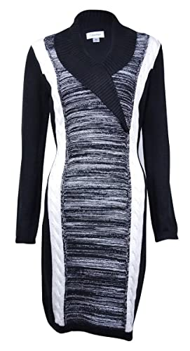 Calvin Klein Womens Cable Knit Colorblock Sweaterdress