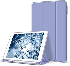 Aoub Case for iPad Mini 5 2019, Auto Sleep/Wake Slim Lightweight Trifold Stand Cover, Soft TPU Back Case with Pencil Holder for Apple iPad Mini 5 7.9 inch, Lavender