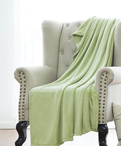 Sage Green Furniture On Gorgeoushomelinen Sage Green Small Throw Super Soft Fleece Plush Warm Lightweight Bed Or Couch Travel Amazoncom