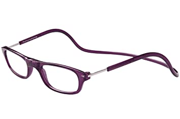 adeb1a9750 TBOC Reading Glasses Eyeglasses Eyewear - Dark Purple Frame +2.50 Optical  Power Magnetic Clip Adjustable