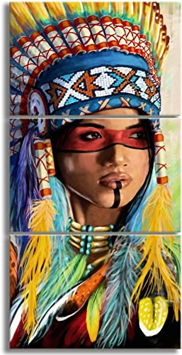 Indian Woman Native American Wall Art For Girl Gifts Feathered Headdress Framed American Decor Canvas Wall Art 3 Piece Original Oil Painting Poster