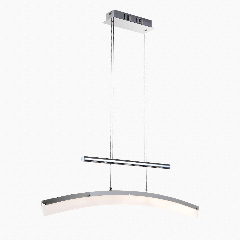 Stylehome 20W LED Hängelampe Höhenverstellbar Kronleuchte Hängeleuchte Deckenlampe Esszimmer Wohnzimmer 4361-01A Chrom Warmweiss (A++)