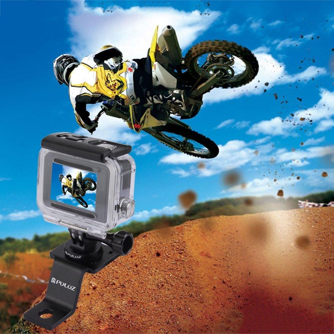 PULUZ Accessori Moto Specchio//bullone Supporto Fisso Metallo Bici Supporto per GoPro Hero 5 4 sessione Nero Argento 4 3 3 2 Sport Action Camera