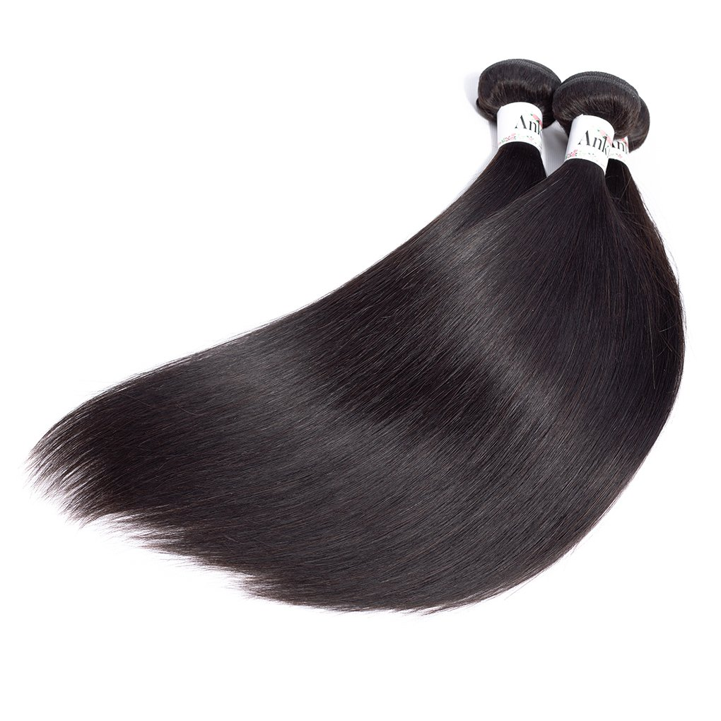 Anknia Mink Brazilian Straight Hair 3 Bundles Deals 100% Unprocessed Virgin Remy Human Hair Bundles Weave Hair Extensions Natural Color 24 26 28 Inches Total 300g by Anknia (Image #7)