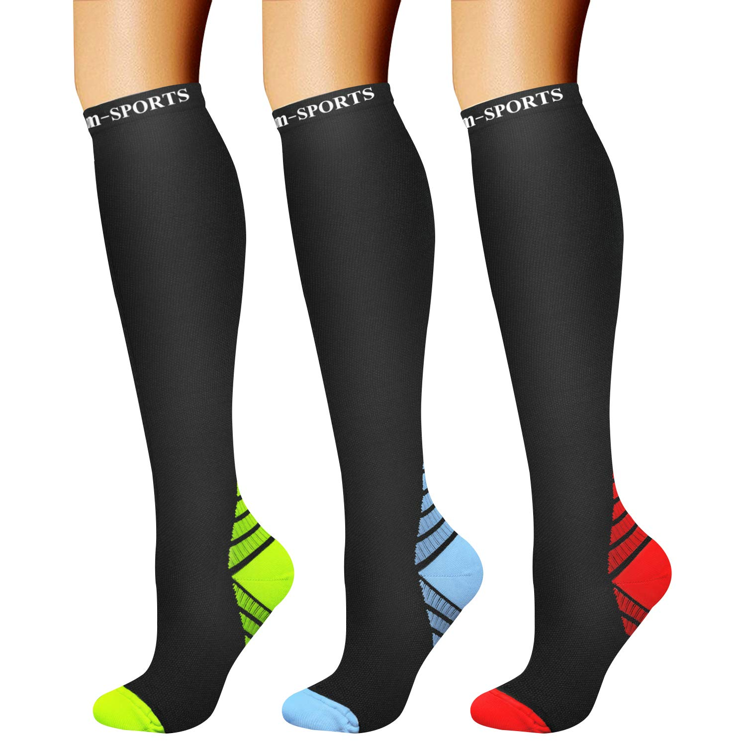 CHARMKING Compression Socks (3 Pairs) 15-20 mmHg is Best Athletic & Medical for Men & Women, Running, Flight, Travel, Nurses, Edema - Boost Performance, Blood Circulation & Recovery (S/M, Assorted 22) by CHARMKING