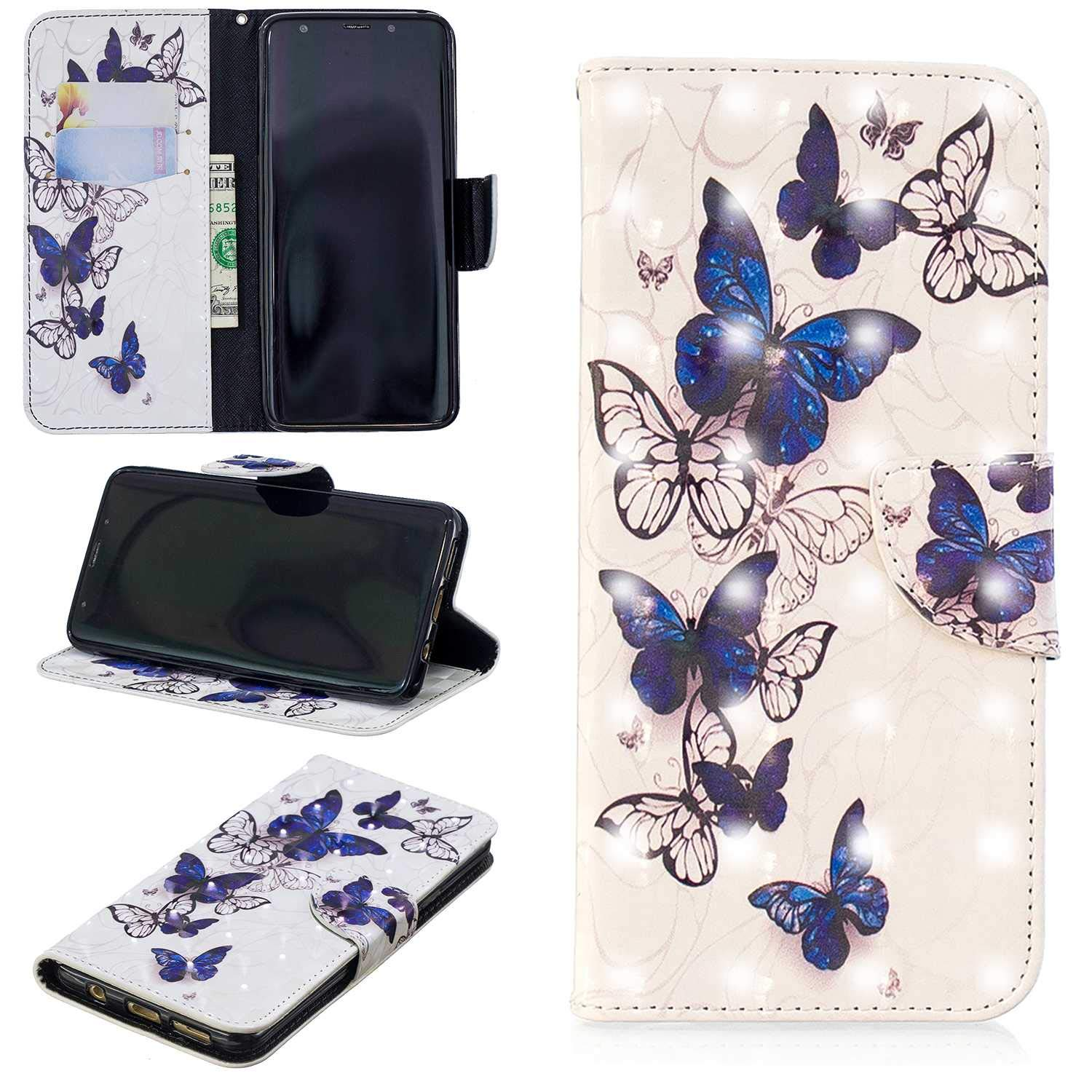 CUSKING Galaxy S9 Plus Case, Premium 3D Design Wallet Case Stand Flip Case with Card Holders and Magnetic Closure, Multi-Functional Shockproof Case for Samsung Galaxy S9 Plus - White, Butterfly