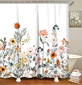 "LIVILAN Fabric Floral Shower Curtain Set with 12 Hooks Watercolor Decorative Bath Curtain Modern Bathroom Accessories, Machine Washable, 70.8""x 70.8"""