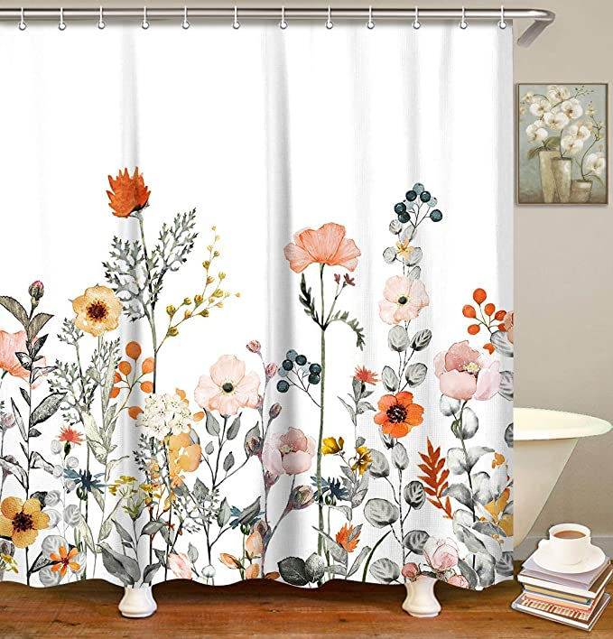 Amazon Com Livilan Fabric Floral Shower Curtain Set With 12 Hooks Watercolor Decorative Bath Curtain Modern Bathroom Accessories Machine Washable Multi Color Botanical Flowers And Leaves 72 X 72 Kitchen Dining