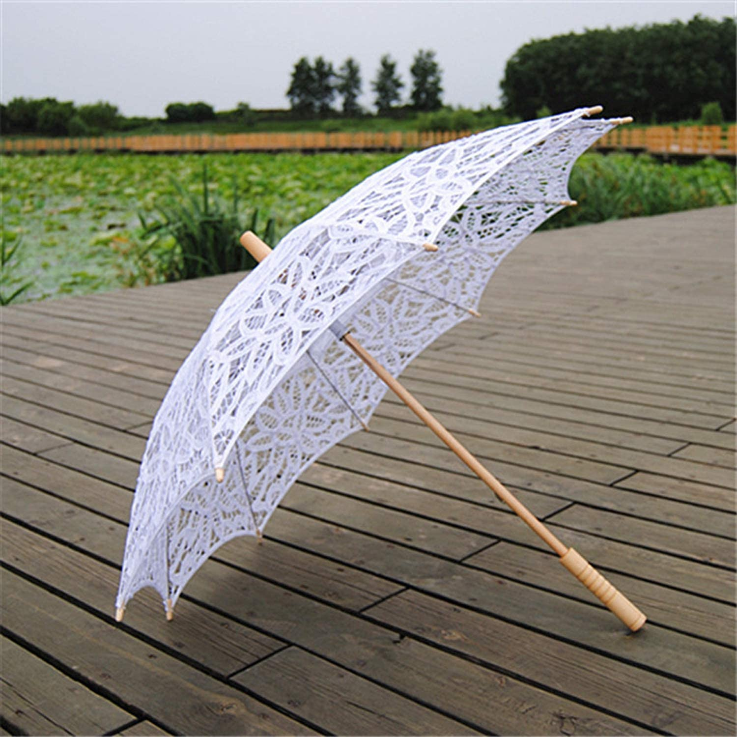 Fashion Lace Umbrella Parasol With Folding Hand Fan For Wedding Photography Dance Prop White