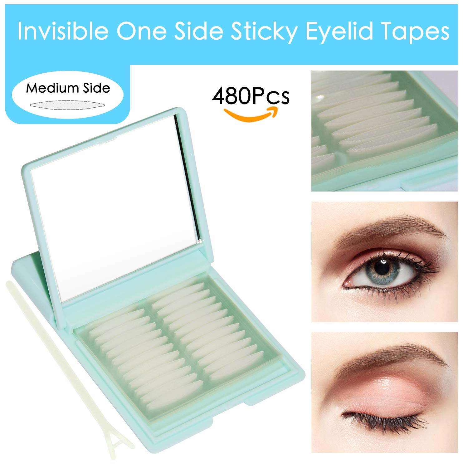 Medical-use Fiber Eyelid Tapes - 480Pcs/240 Pairs Invisible Single Side Sticky Double Eyelid Stickers - Instant Eye Lid Lift Without Surgery, Perfect for Hooded Droopy Uneven or Mono-eyelids (Medium)