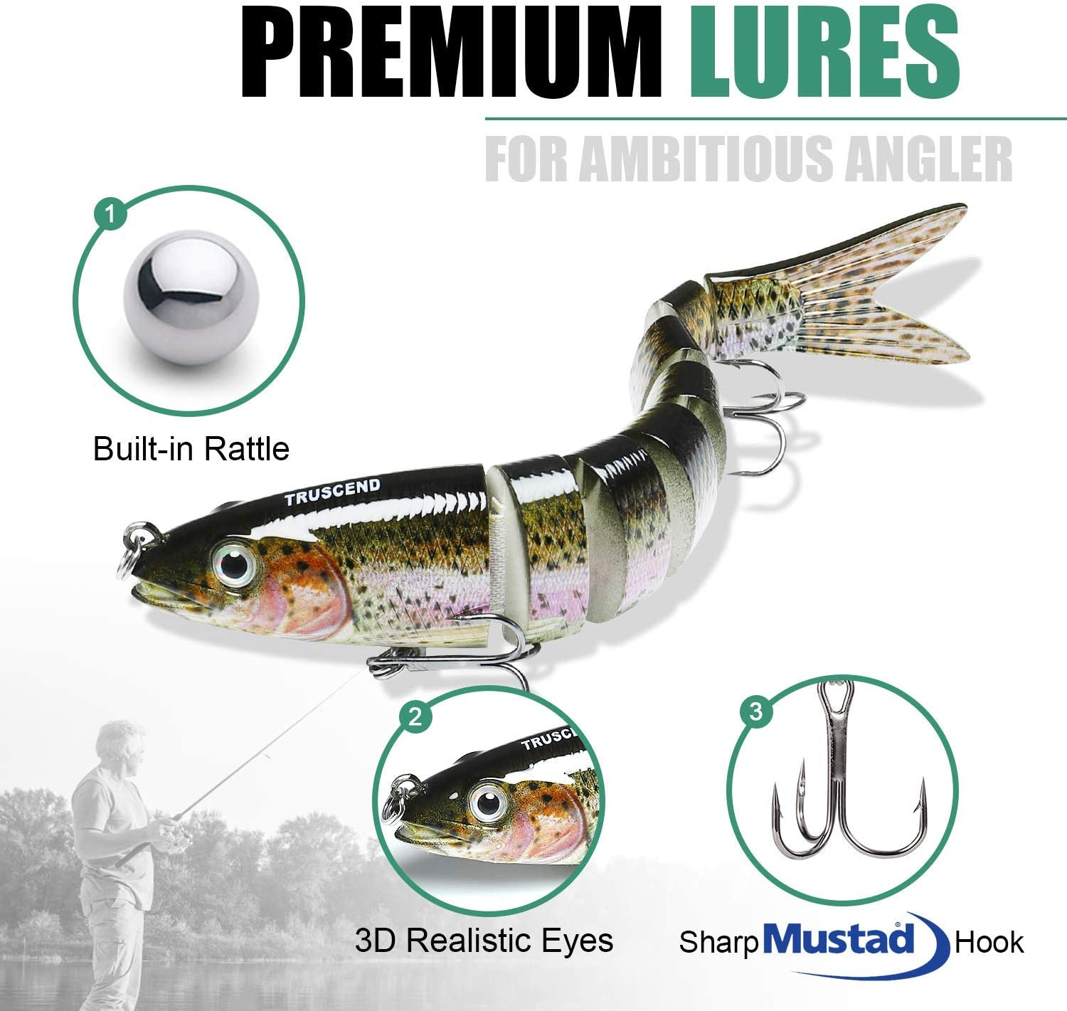 TRUSCEND Fishing Lures for Bass Trout Multi Jointed Swimbaits 5.4 Slow Sinking /& 2 Topwater Swimming Lures Bass Freshwater Saltwater Bass Fishing Lures Kit Lifelike