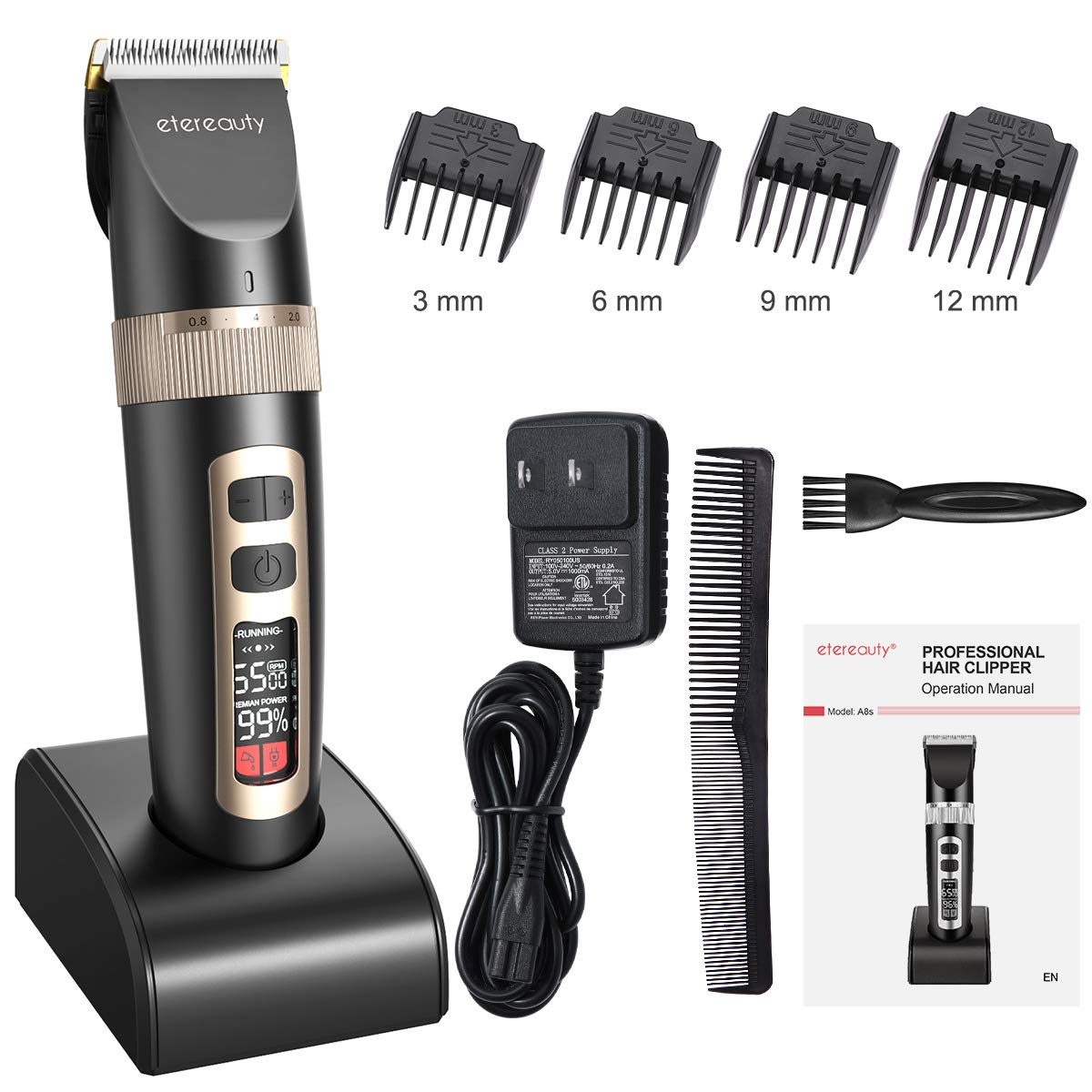 Hair Clippers for Men,Professional Cordless Hair Clippers Ultra Quiet Rechargeable Hair Trimmer with Self-Sharpening Ceramic Blade & LCD Display