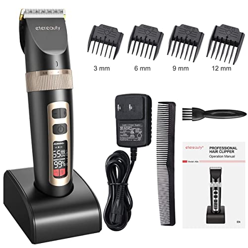 Hair Clippers For Menprofessional Cordless Hair Clippers Ultra Quiet Rechargeable Hair Trimmer With Self Sharpening Ceramic Blade Lcd Display