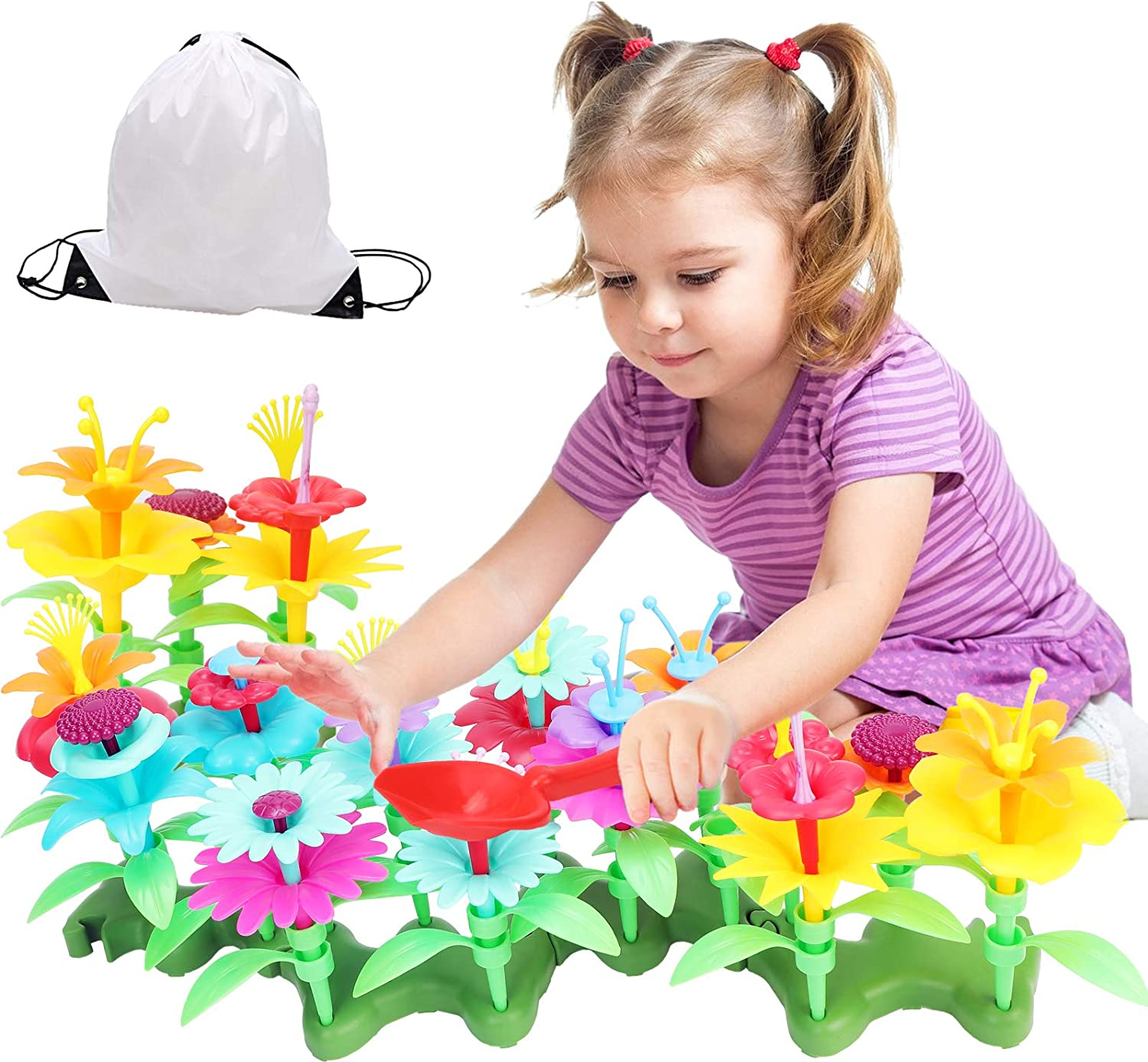 Jogotoll Flower Garden Building Toys,138 PCS Gardening Pretend Set Gifts for 3-6 Year Old Girls,Arts and Crafts Toys for Girls,Educational Activity Stem Toys
