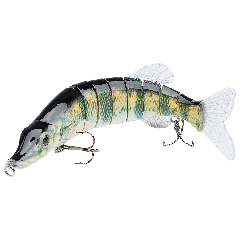 Bassdash Swimpike Multi Jointed Swimbaits Bass Fishing Lure Hard Body Soft Fins 8'' 2-1/2oz, 4 Colors, (Perch)