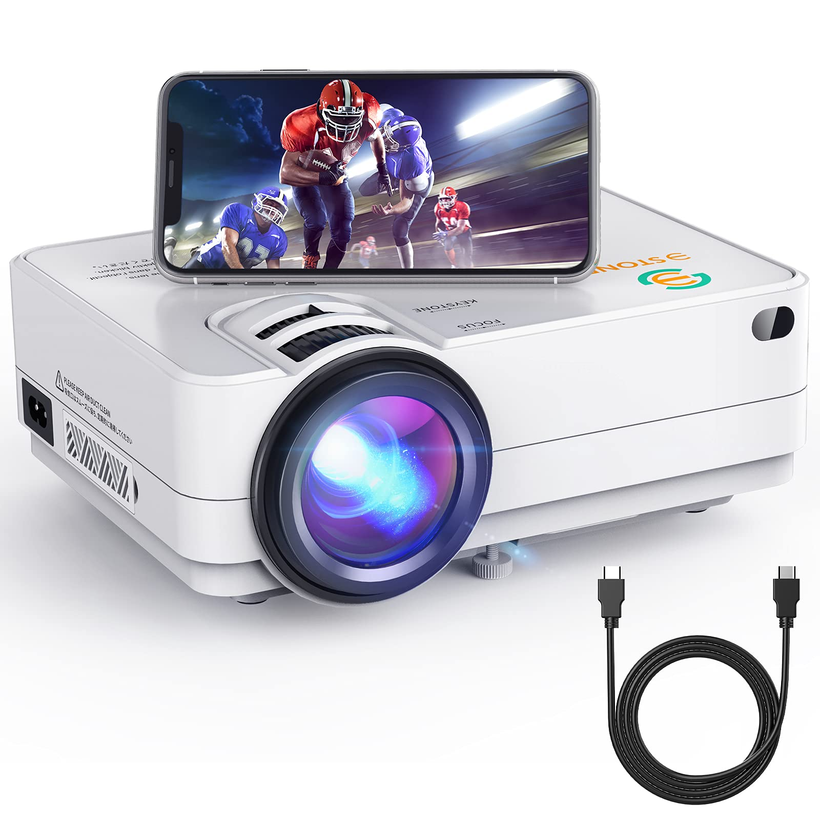 Wi-Fi Mini Projector 3Stone A5 4500 Lux Portable Movie Projector with 1080P