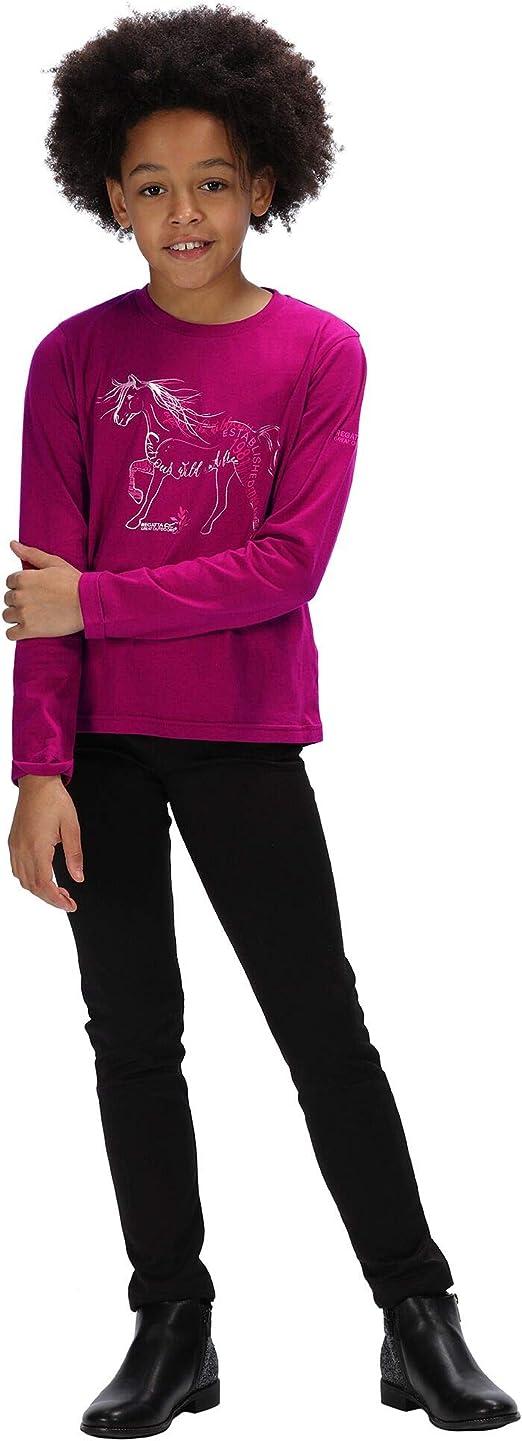 Dark Khaki Regatta Kids Wendell Cotton Graphic Print Long Sleeve T-Shirt polos//vests 7-8