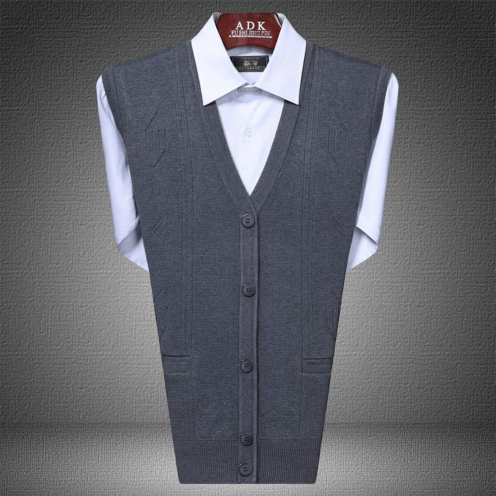HIENAJ Mens Button-Front Sweater Vest V Neck Solid Fitted Sleeveless Knit Tanktop