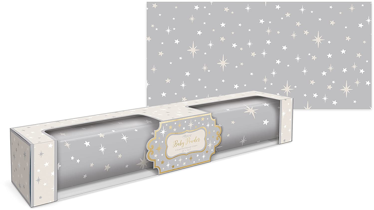 Lady Jayne Dove Gray With Stars Baby Powder Scented Drawer Liners -- 6 Sheets