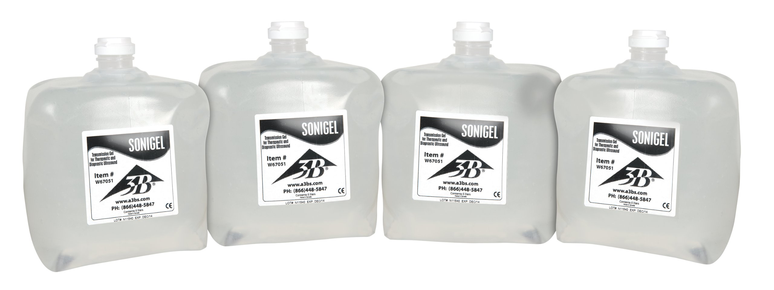 3B Scientific W67052 Sonigel Ultrasound Gel, 5L Container (Pack of 4)