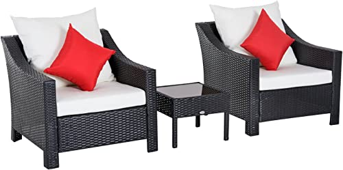 Outsunny 3 Piece Outdoor Patio Cushioned Rattan Wicker Table and Chair Set