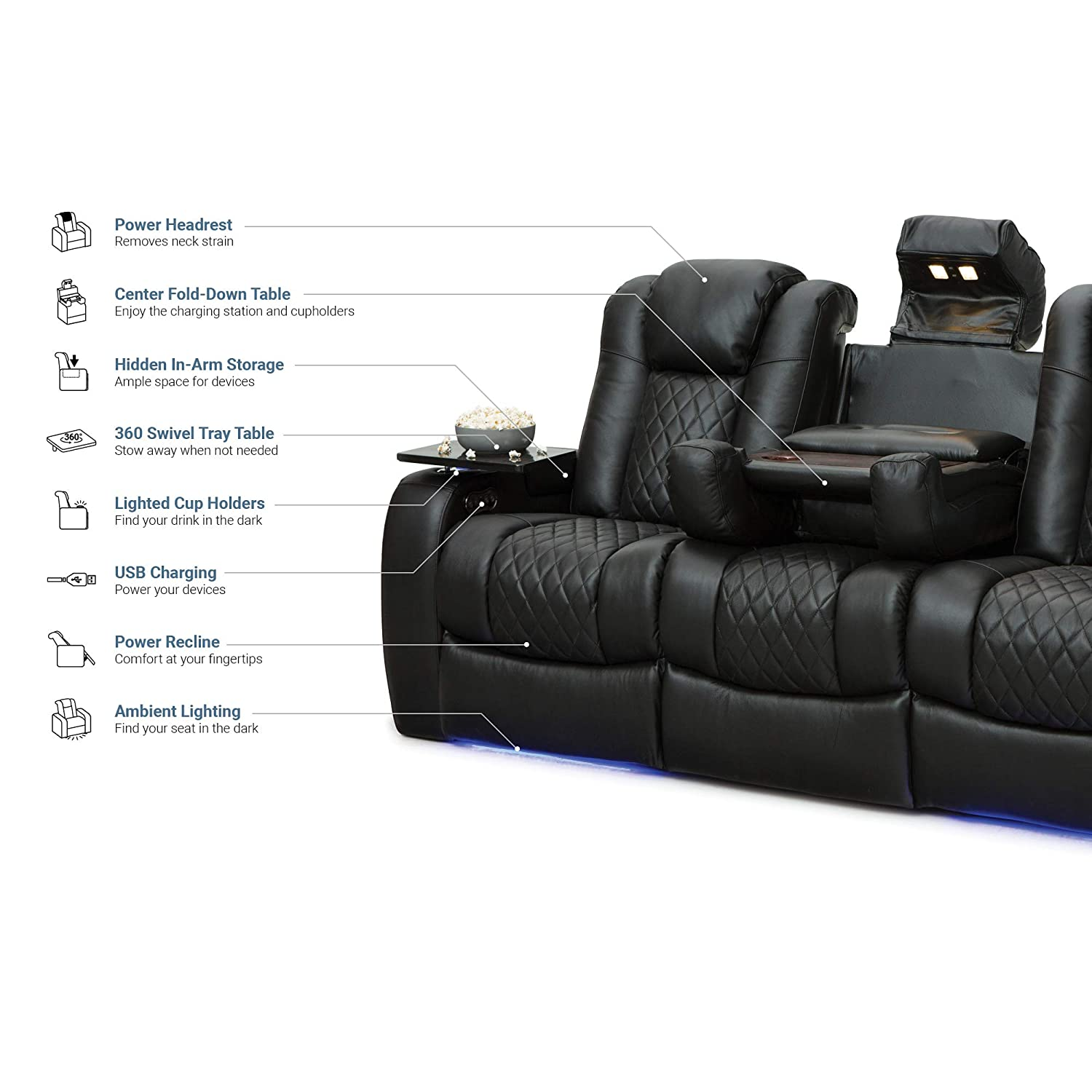 Seatcraft Anthem Home Theater Seating Leather Multimedia Power Recline Sofa with Fold-Down Table, Adjustable Powered Headrests, Storage, AC/USB and ...