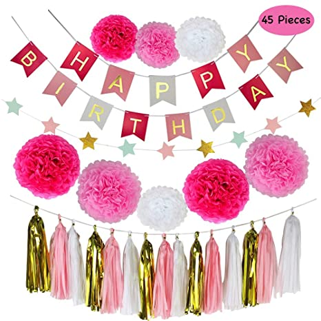 amazon com parlie pink birthday party decorations birthday party