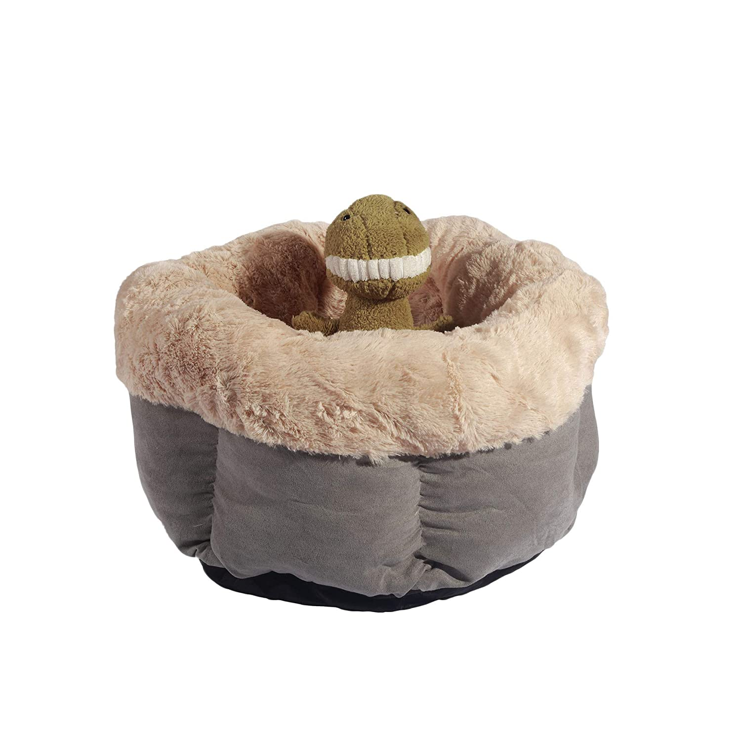 ANPI Pet Bed Cave 42x42x25cm Deep Dish Cuddler Self-Warming Cat and Dog Bed Cushion for Joint-Relief and Improved Sleep Grey