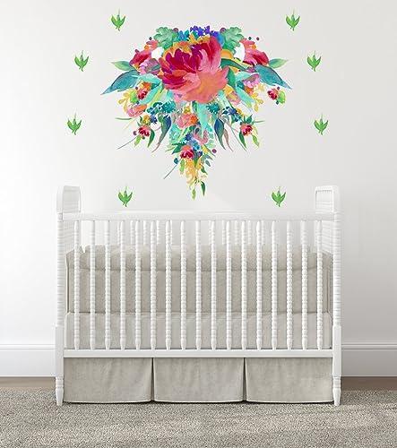 Amazon.com: Baby Girl Nursery Wall Decals, Baby Girl Room, Nursery Decals, Flowers, Room Wall Stickers, Bloom Wall Art, Baby Room Decal, Modern Decals: Handmade