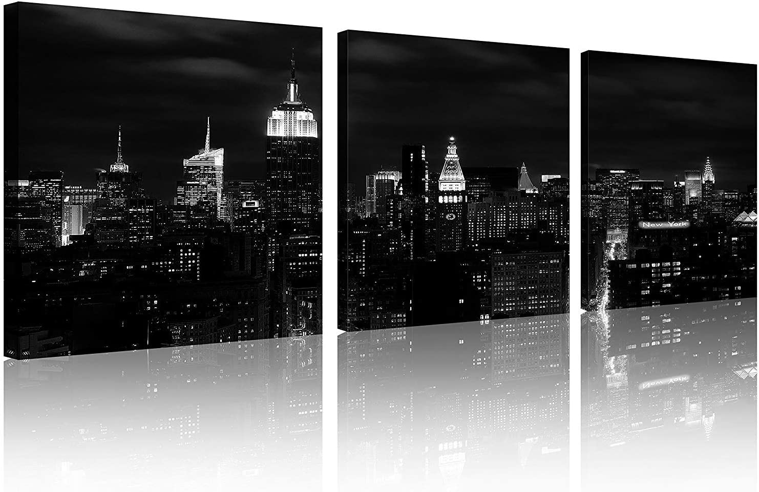 TutuBeer 3 Panels nyc Art nyc Prints nyc Black and White nyc Picture Black and White New York Pictures Print on Canvas Wall Art Skyline New York Wall Decor for Home Decor Wall Decor, 3pcs/Set