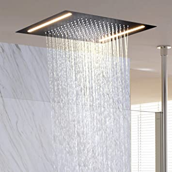 Matte Black 8 Inch Rainfall Shower Head Solid Square Top Sprayer For Shower
