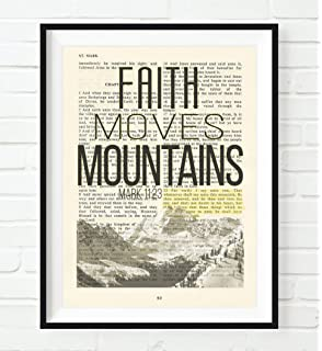 Amazon holy bible giant print toffee leathersoft red faith moves mountains mark 1123 christian unframed reproduction art print vintage bible negle Image collections