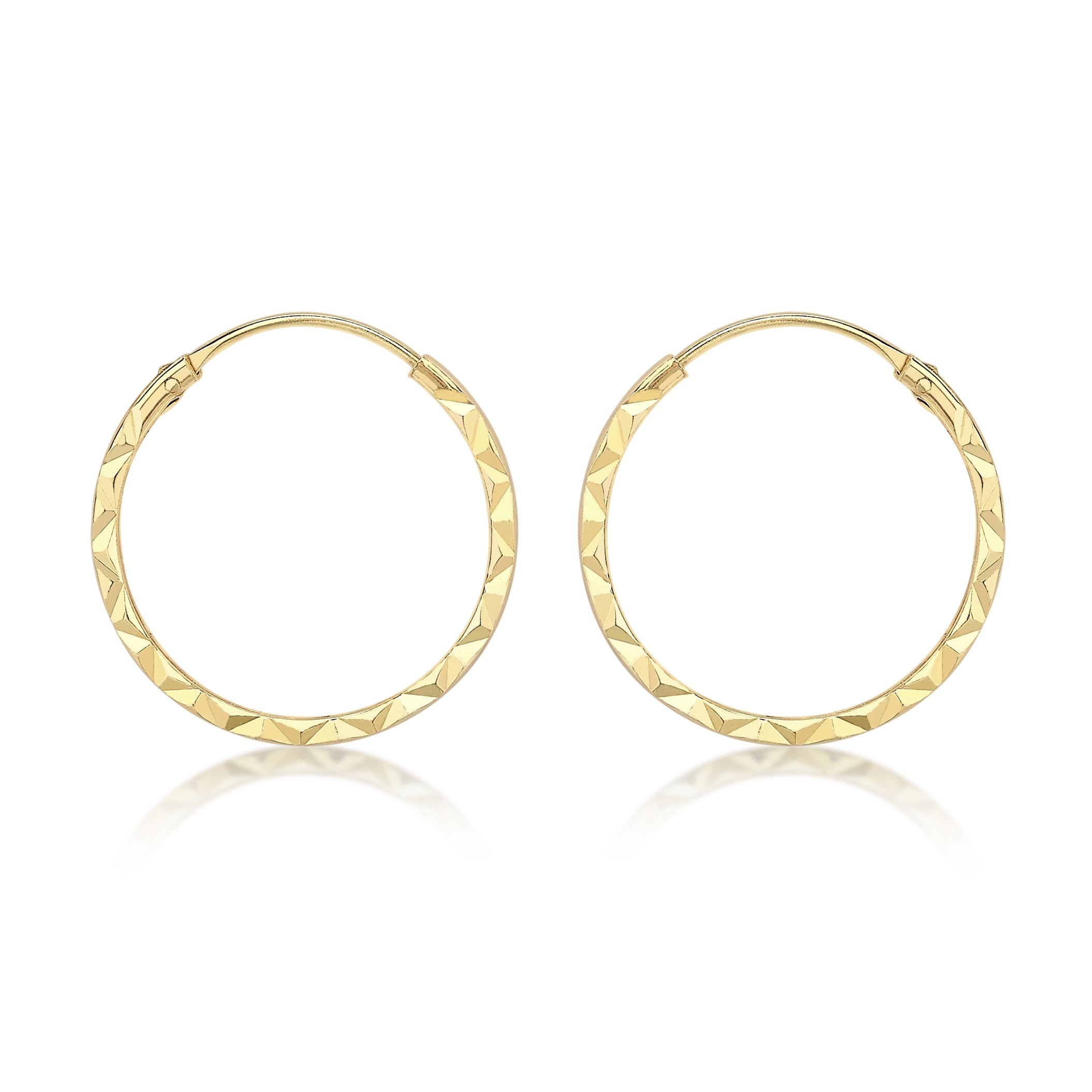 Gold hoop endless earrings 9 ct yellow gold