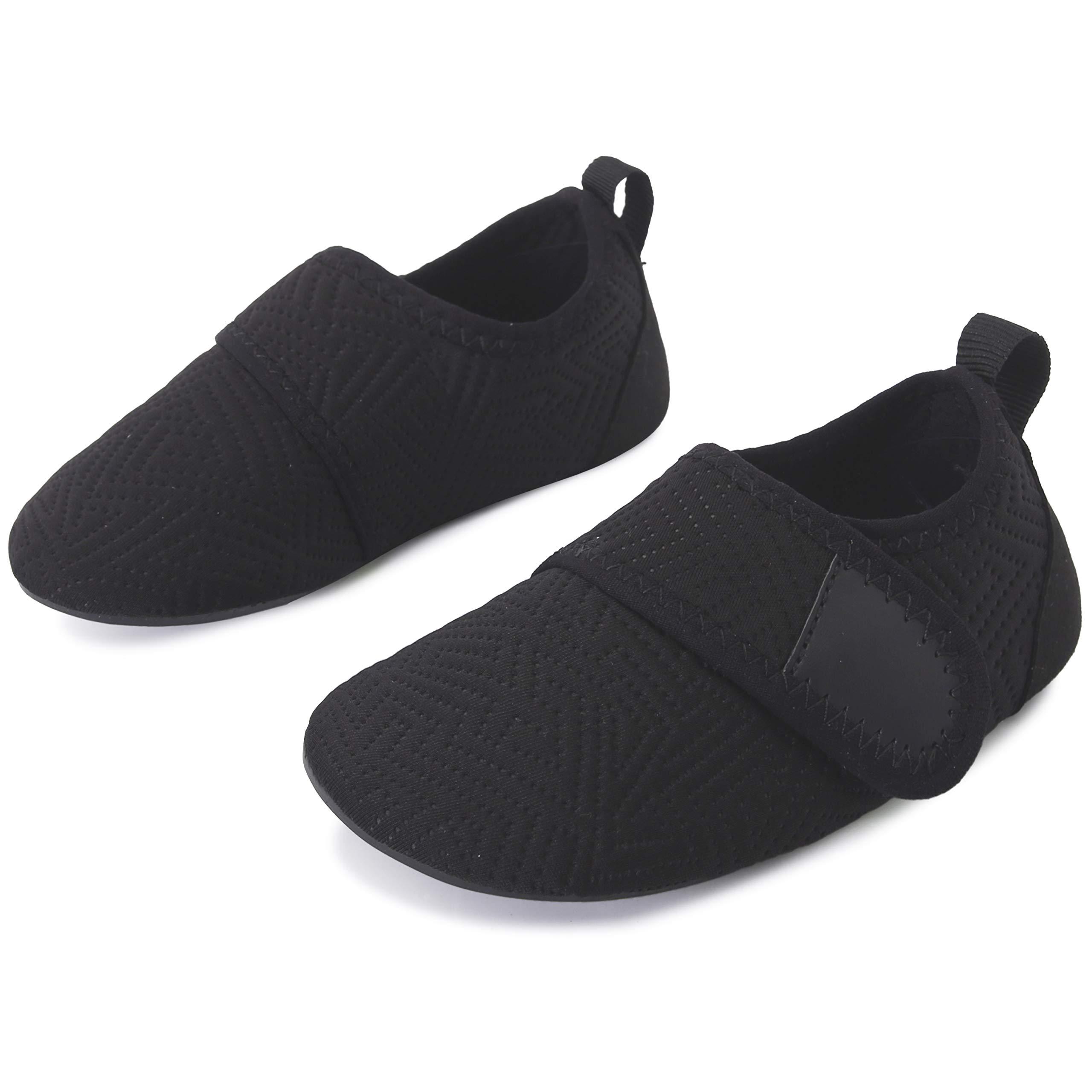L-RUN Kids Water Swim Shoes Quick Dry Barefoot Skin Aqua Socks Black 6-7=EU22-23
