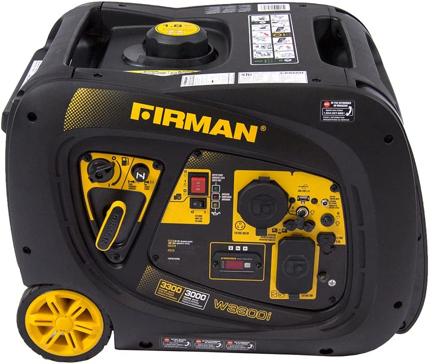 Firman W03082 3300 3000 Watt Electric Start Gas Portable Generator cETL and CARB Certified, Black