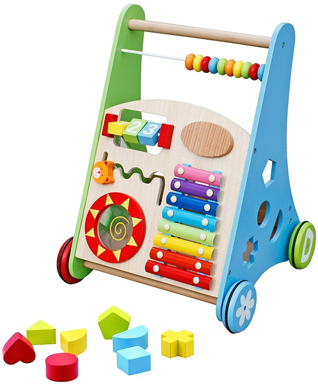 Pidoko Kids Block and Roll Cart - Wooden Push and Pull Baby Walker with Multiple Activity Centre by Pidoko Kids (Image #1)