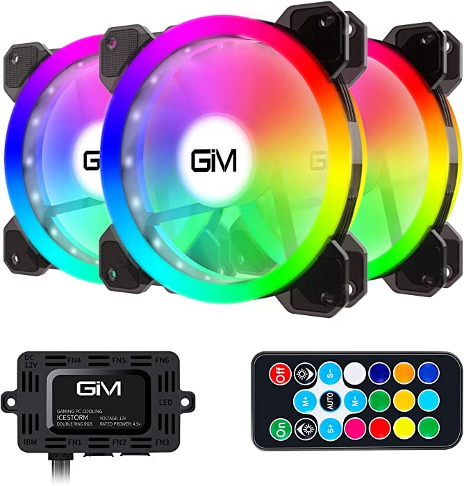 RGB Case Fans 3 Pack, GIM 120mm Chassis Fans (366 Modes with Controller and Remote) PC Computer LED Fan, Reinforced Quiet Fan Blade Design, Adjustable Colorful Cooling Cooler
