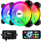 RGB Case Fans 3 Pack, GIM 120mm Chassis Fans (366 Modes with Controller and Remote) PC Computer LED Fan, Reinforced Quiet Fan