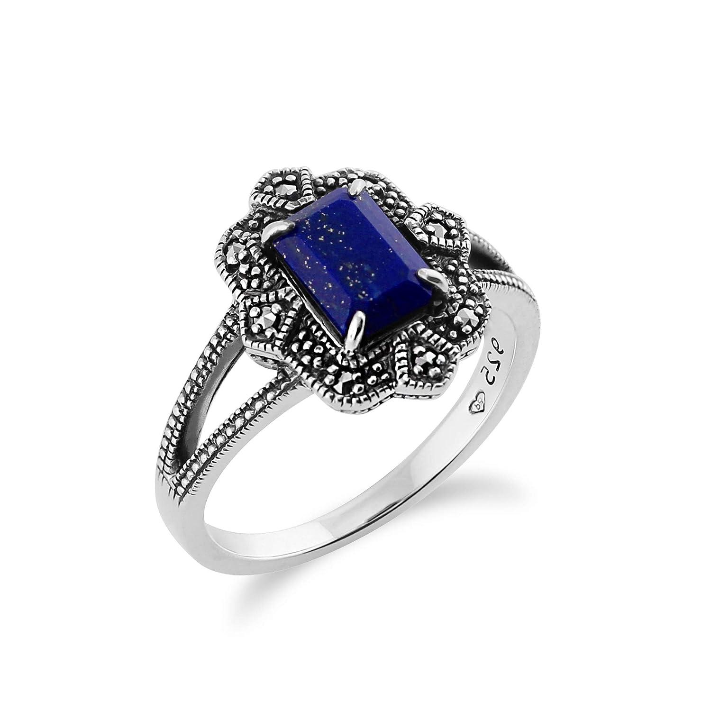925 Sterling Silver Art Deco Lapiz Lazuli Marcasite Ring