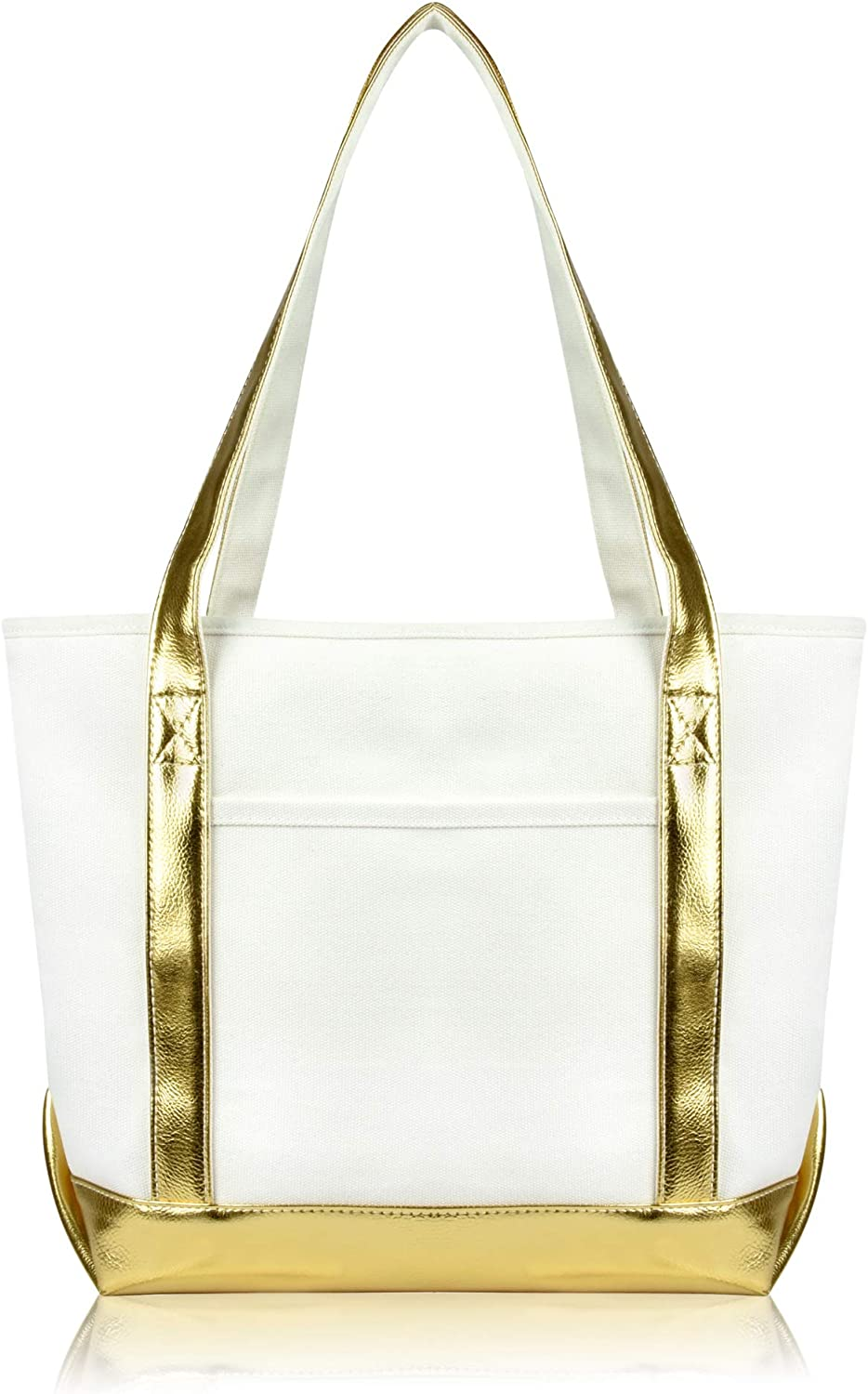DALIX Daily Shoulder Tote Bag Premium Cotton in Gold