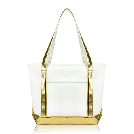 d245a76c5b87 DALIX Daily Shoulder Tote Bag Premium Cotton in Gold