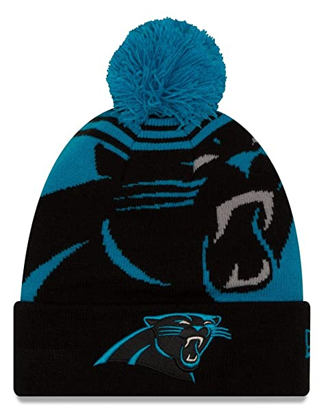 31e32db009d Image Unavailable. Image not available for. Color  Carolina Panthers New  Era NFL  quot Logo Whiz 2 quot  Cuffed Knit Hat with Pom