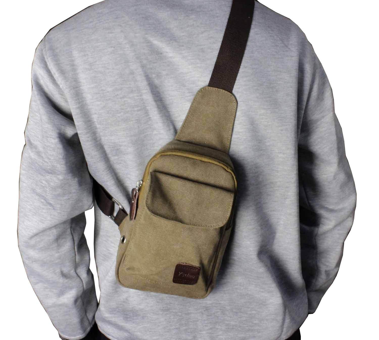 Man Canvas Messenger Pack Travel Chest Backpack Shoulder Bag Biker Trucker Bag
